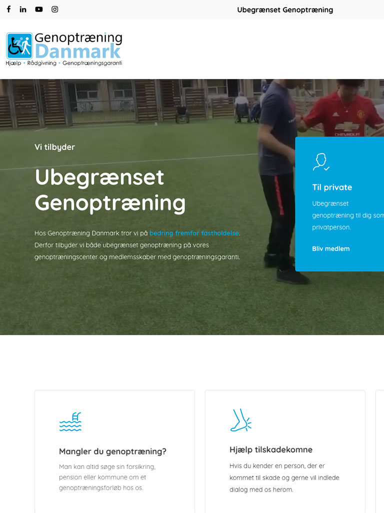 Screenshot Genoptræning Danmark